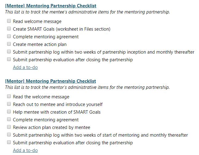 Mentee/Mentor checklists