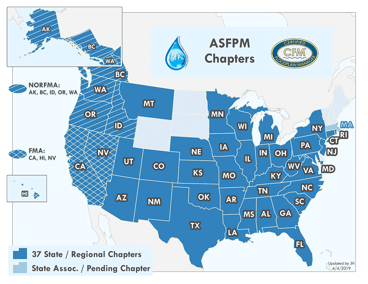 Map of ASFPM Chapters.