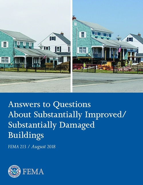 """Cover image of """"Answers to Questions about Substantially Improved/Substantially Damaged Buildings"""" document."""