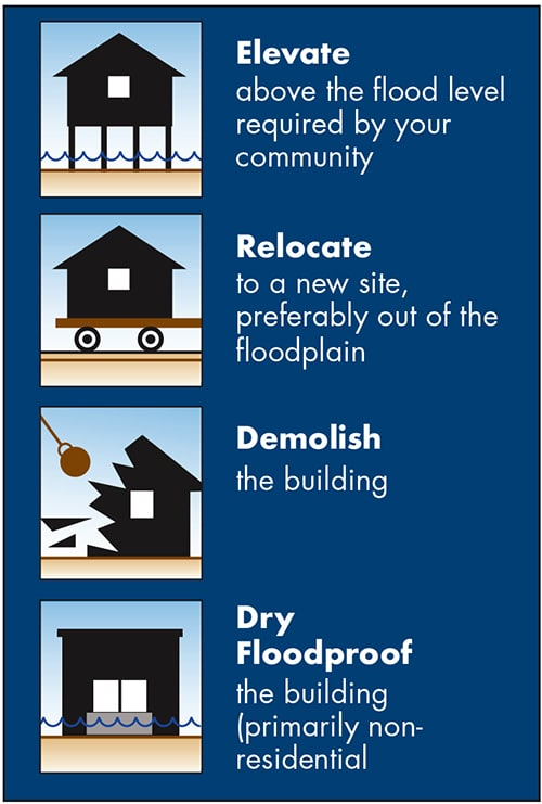Image showing options to elevate, relocate, demolish or dry floodproof.