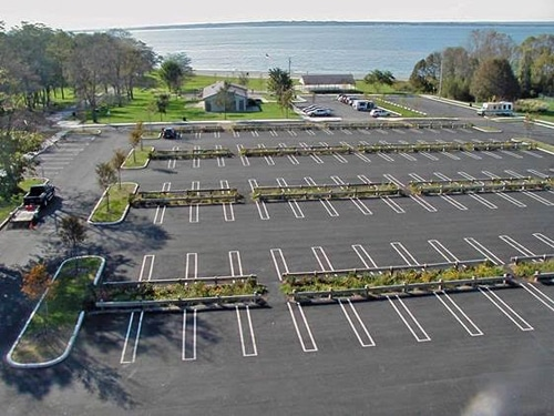 Green Infrastructure in the Town Beach parking lot. Image courtesy of the Town of Bristol, RI