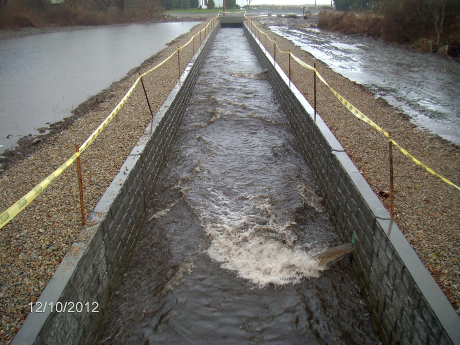Tanyard Brook culvert replacement project, image captured shortly after a storm. Image courtesy of: Beta Group