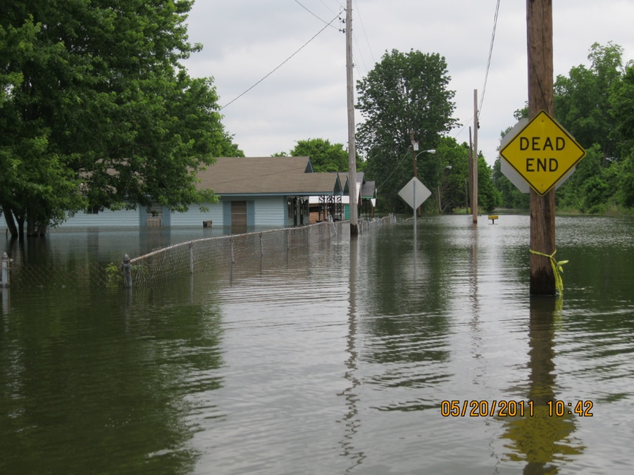 Flooded homes in Vicksburg, MS. Image courtesy of the City of Vicksburg.